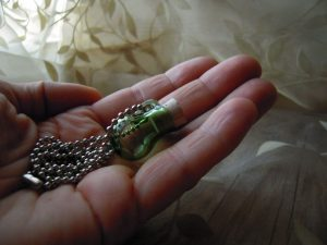 Green Vial Pendant -handblown - Happy Hollow Glass (3)