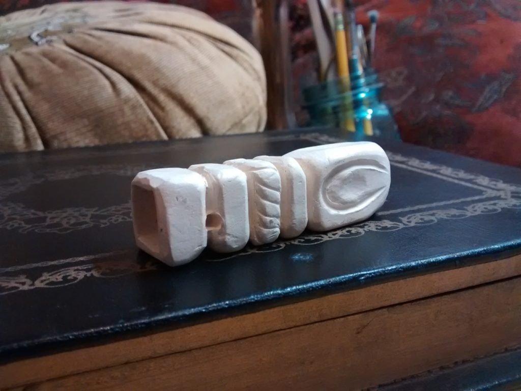 Decorative Clay Pipe : Stoneware carved clay pipe square